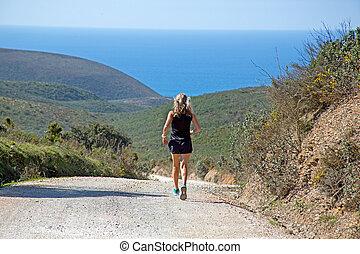 folâtre, femme, océan, bas, jogging, atlantique, colline, mûrir