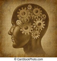 fonction, cerveau, concept, grunge