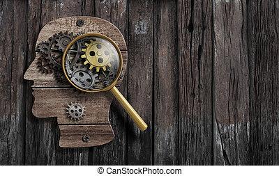fonction, psychologie, inventer, conception., cerveau, model., ou