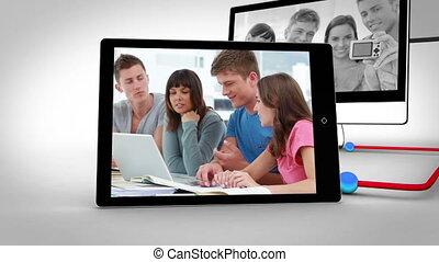 fonctionnement, étudiants, ensemble, vidéos