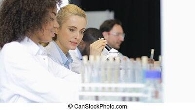 fonctionnement, aide, expliquer, moderne, scientifique, microscope, expérience, résultat, femme, équipe, laboratoire, sur, chercheurs