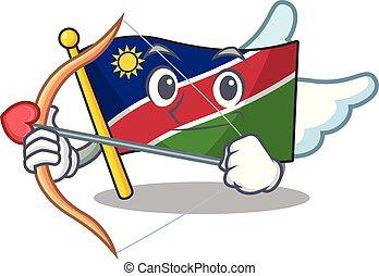 fonctionnement, caractère, namibie, cupidon, sourire, drapeau, dessin animé