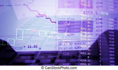 fonctionnement, charts., ordinateur portable, courtier, arrière-plan., commerce ligne, marché, stockage