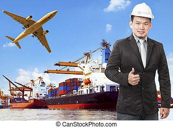fonctionnement, commercial, bateau, avion, port, homme, cargaison, flyi, air