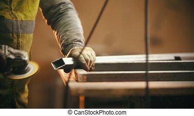 fonctionnement, -, coupure, émoulage, atelier, faisceau, métal, soudure
