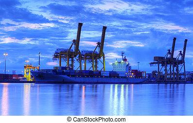 fonctionnement, crépuscule, logistique, bateau, fond, chantier naval, exportation, récipient, fret, importation, grue, pont, cargaison