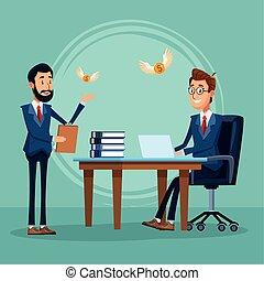 fonctionnement, debout, homme affaires, bureau, dessin animé, bureau