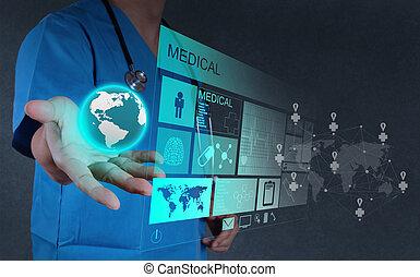fonctionnement, docteur, interface, informatique, médecine, moderne
