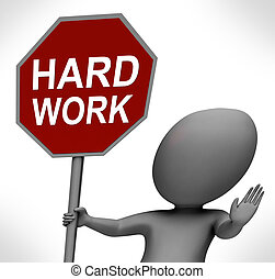 fonctionnement dur, travail, stop, travail, arrêt, spectacles, rouges, difficile