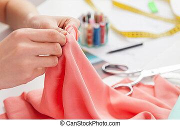fonctionnement, elle, séance, image, couture, tondu, quoique, tailleur, endroit, sewing.