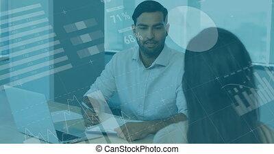 fonctionnement, financier, informatique, affaires gens, sur, animation, bureau