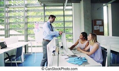 fonctionnement, groupe, bureau, professionnels, jeune, ensemble.