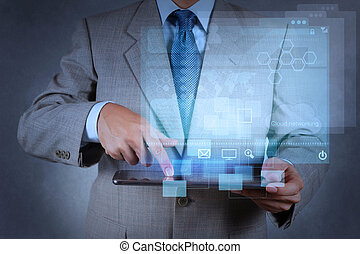 fonctionnement, homme affaires, moderne, main, technologie