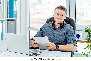 fonctionnement, homme, bureau