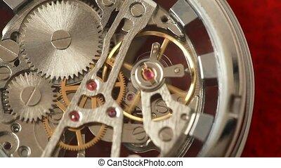 fonctionnement, intérieur, montre, mécanisme, engrenages mouvement