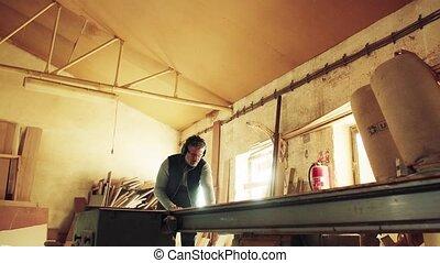 fonctionnement, ouvrier, wood., atelier, homme, charpenterie