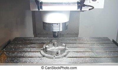 fonctionnement, processus, -, métal, machine, forage, automobile, fabrication