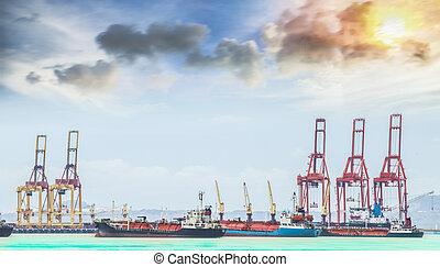 fonctionnement, récipient bateau, fret, grue, cargaison