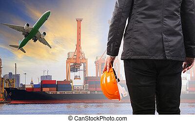fonctionnement, récipient, f, corgo, devoir, homme, logistique, usage, port, bateau