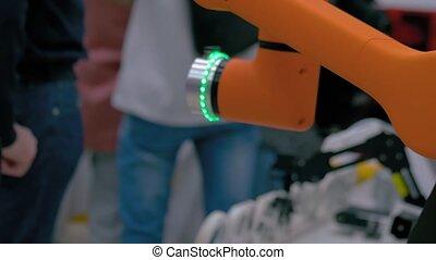 fonctionnement, robotique, mode, demo, orange, en mouvement, robot, collaborative, expo
