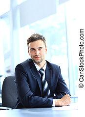 fonctionnement, séance, bureau, jeune, bureau, homme affaires
