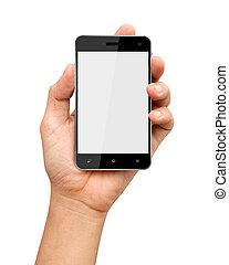 fond, écran, main, téléphone, tenue, vide, blanc, intelligent