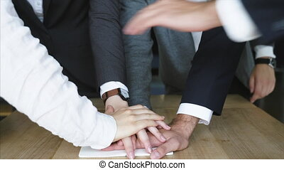 fond, équipe, mains, business, espace de travail, uni