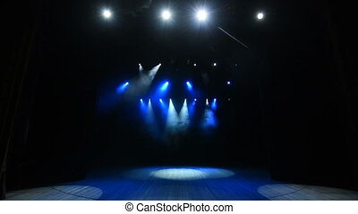 fond, étape, bleu, concert, lumières