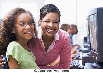 fond, étudiants, terminal, key), informatique, étudiant, (selective, prof, focus/high