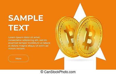 fond, 2, flèche, or, haut., blanc, orange, pointage, croissance, vecteur, bitcoin, bannière, pièces, monnaie