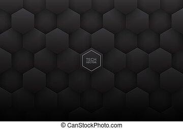 fond, 3d, résumé, gris, hexagones, sombre, vecteur