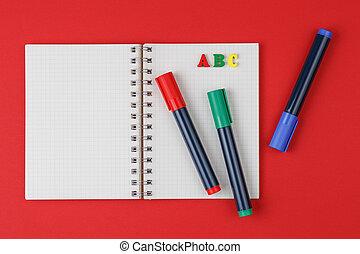 fond, abc, rouges, lettres, marqueurs, cahier, coloré