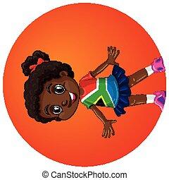 fond, africaine, rond, girl, sud