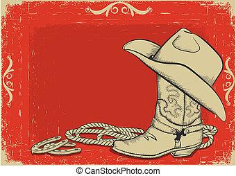 fond, américain, botte, chapeau, cow-boy, rouges, occidental, design.