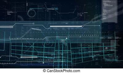 fond, animation, bleu, contre, informatique, interface, traitement, numérique, données