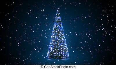 fond, animation., chute neige, defocused, année, bleu, concept., seamless, lumières, barbouillage, 3d, nouveau, clignotant, noël, heureux, tourner, 3840x2160, bokeh., joyeux, hd, arbre, salutation, 4k, ultra