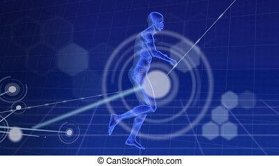 fond, animation, sur, modèle, contre, bleu, connexions, corps humain, courant, numérique, réseau