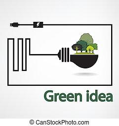 fond, arbres, ampoule, feu vert