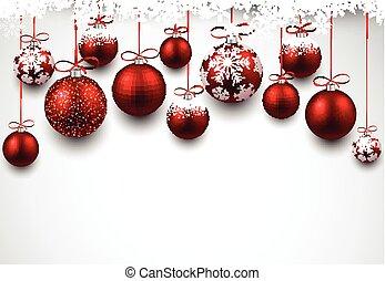fond, arc, noël, balls., rouges