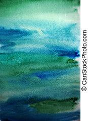 fond, art, aquarelle, vert, conception, main, peint