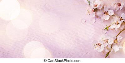 fond, art, frontière, fleur, printemps, rose