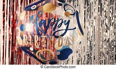 fond, balloon, clinquant, axe, autour de, heureux, birthday., 4k, hélium, fête, sien, contre, anniversaire, brillant, transparent, tourne, inscription