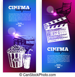 fond, banners., cinéma, ensemble film, effets, croquis, lumière, illustrations, main, dessiné