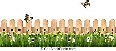 fond, barrière, bois, butterflies., herbe, vector., fleurs