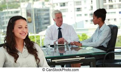 fond, beau, portrait, collègues, femme affaires