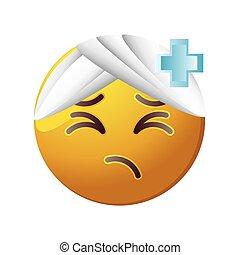 fond, blanc, emoticon, malade