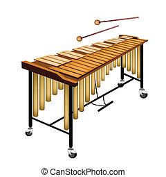 fond blanc, isolé, vibraphone, musical
