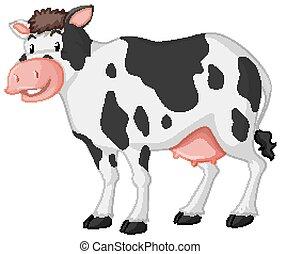 fond blanc, mignon, sourire, vache, grand