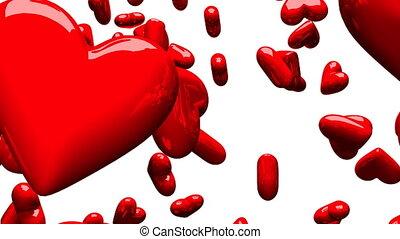 fond, blanc rouge, cœurs