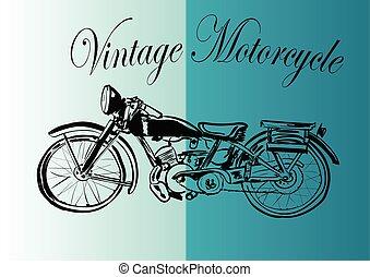 fond, blanc, vendange, motocyclette